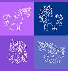 unicorn white sketch set on the purple blue vector image