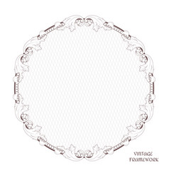 victorian round frame of calligraphic design page vector image