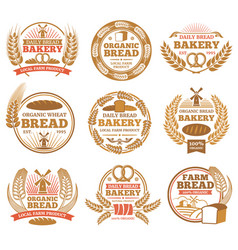 vintage bakery labels with wheat ears and vector image