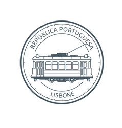 Vintage city tram - tramway in lisbon portugal vector
