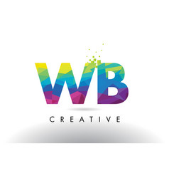 wb w b colorful letter origami triangles design vector image