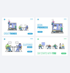 Website landing page characters are integrating vector