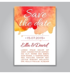 Wedding invitation card with watercolor vector
