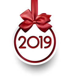 white 2019 new year card with red satin bow vector image