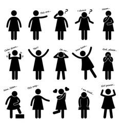 woman girl female person basic body language vector image