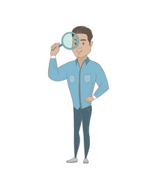 Young hispanic businessman with magnifying glass vector