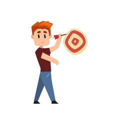 young man playing darts man aiming with a dart at vector image