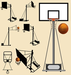 Basketball hoop and ball silhouette vector