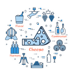 blue round cheese concept vector image