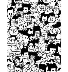 crowd faces vector image vector image
