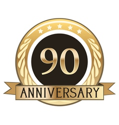 Ninety Year Anniversary Badge vector image