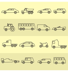 simple cars black outline icons collection eps10 vector image vector image