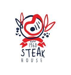 steak house logo since 1968 vintage label vector image