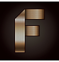 Letter metal gold ribbon - F vector image vector image