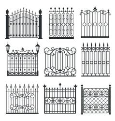 Metal iron gates grilles fences set vector image vector image