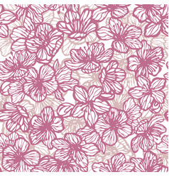 sakura seamless pattern in hand-drawn style vector image
