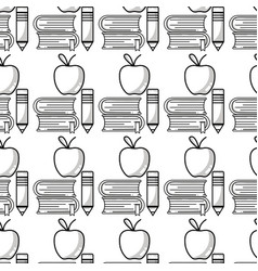 School books and pencil with apple fruit vector