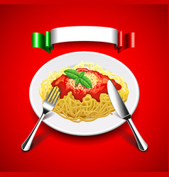 spaghetti with cutlery and italian flag on red vector image