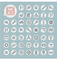 Tools and Travel Icon set on blue paper vector image
