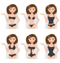 Types of swimsuits vector image