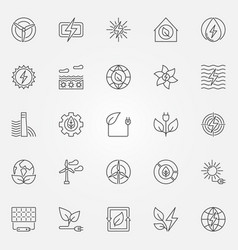 green energy icons set vector image vector image