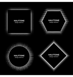 Set of White Abstract Halftone Circles vector image vector image