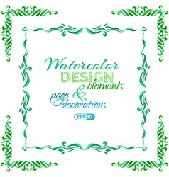 watercolor page decorations vector image vector image