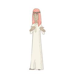 young muslim man shrugging shoulders vector image