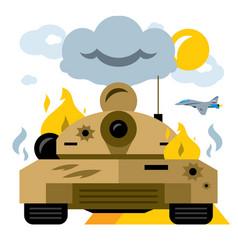 Battle tank crash flat style colorful vector