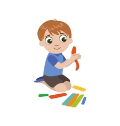 Boy preparing the putty for craft vector