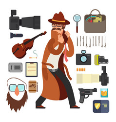 cartoon surveillance detectives with equipment vector image vector image