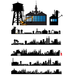 City and Old Factory silhouette vector image