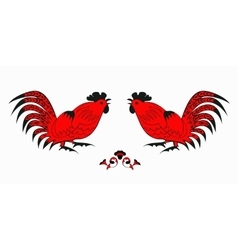 Fighting of red roosters on a white background vector image vector image