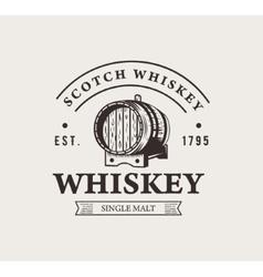 Hand drawn whiskey logo Typography monochrome vector image