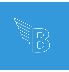 Letter B logo with wings in thin lines vector image