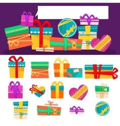 set of different colorful gift boxes with vector image vector image