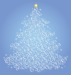 White filigree christmas tree-blue background vector image