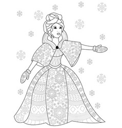 winter woman coloring for adults vector image
