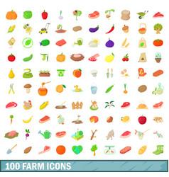 100 farm icons set cartoon style vector image vector image