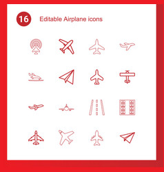 16 airplane icons vector
