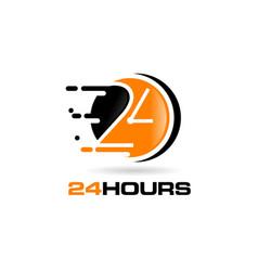 24 hours logo design symbol icon vector image