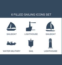 6 sailing icons vector