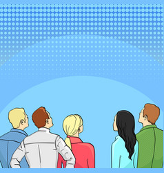 A crowd of spectators stand back retro style pop vector