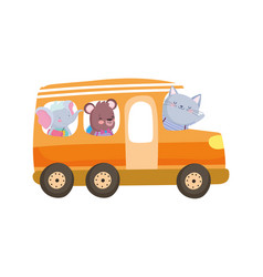 back to school education cute elephant bear and vector image