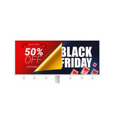 billboard with ads of black friday sale discount vector image
