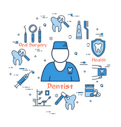 blue round banner - male dentist doctor vector image
