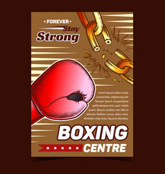Boxing sport centre advertising banner vector