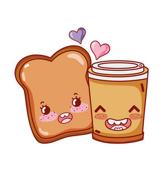 Breakfast cute slice bread and disposable coffee vector