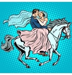 bride and groom white horse love wedding romance vector image