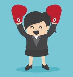 Business Woman in a suit and boxing gloves vector image